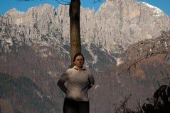 在登上Serva,贝卢诺,白云岩的秋天 库存图片