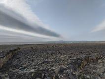 在登多克海湾的低潮 老码头 库存照片