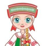 在白俄罗斯语衣服的玩偶 给历史穿衣 画象,具体化 图库摄影
