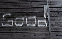 在白垩写的词'好在木板 免版税库存图片