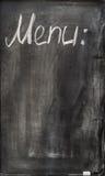 在白垩的题字在黑板菜单 免版税库存图片