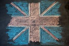 在白垩绘的粉笔板的英国旗子 皇族释放例证