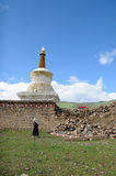 在白塔下的西藏人 库存照片