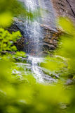 在白天夏天期间,山核桃属瀑布 免版税库存图片