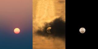 在白天的太阳,报道在偏蚀的月亮太阳 免版税库存照片