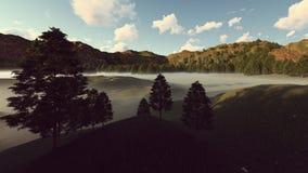 在白天的有雾的风景 皇族释放例证