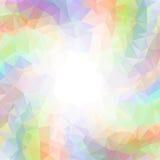 在白方块背景附近的抽象五颜六色的漩涡彩虹多角形 向量例证