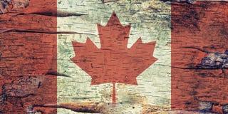 在白桦树皮的加拿大旗子 库存图片