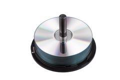 在白的储蓄图象CD的DVD隔绝的堆 免版税库存照片