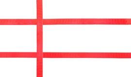 在白的集合37的红色缎丝带 库存照片