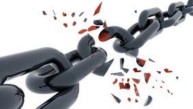 在白的3d翻译被打碎隔绝的链子开放断裂 皇族释放例证