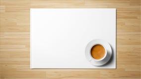 在白皮书的茶在木背景 库存图片