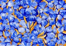 在白皮书的水彩蓝色花 免版税图库摄影