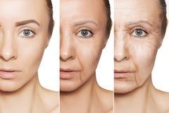 在白种人妇女面孔的防皱做法 库存照片