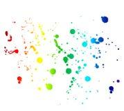 在白色上色了墨水污点和下落隔绝的彩虹 库存照片