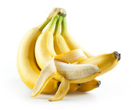 在白色与开放一个的香蕉隔绝的束  免版税库存图片