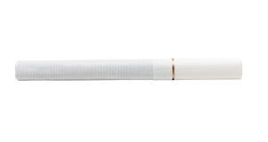 在白色与过滤器白色颜色的一根香烟隔绝的 免版税库存照片