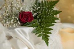 在白色丝绸蜡烛的红色玫瑰婚姻言情华伦泰标志的 免版税图库摄影