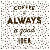 在白色书面的背景和手的咖啡豆引述咖啡我 免版税库存照片