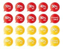 在白色五颜六色的价牌传染媒介隔绝的套,折扣销售的标签 免版税库存照片