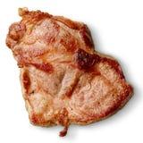 在白色从上面隔绝的烤猪肉脖子牛排 库存图片