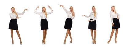 在白色企业概念的女实业家隔绝的 库存图片