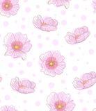 在白色传染媒介的桃红色手拉的花纹花样 库存例证