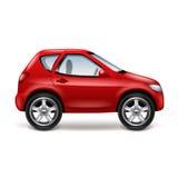 在白色传染媒介的红色汽车 免版税库存照片