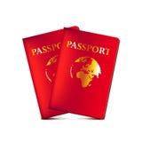 在白色传染媒介隔绝的两本护照 免版税库存照片