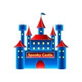 在白色传染媒介隔绝的恐怖城堡 库存照片