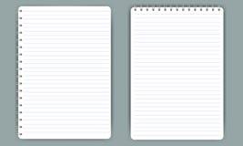 在白色传染媒介隔绝的空白的现实螺旋笔记薄笔记本 免版税图库摄影