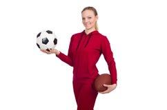 在白色体育概念的妇女隔绝的 免版税库存照片