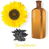 在白色例证隔绝的向日葵油瓶 免版税图库摄影