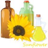 在白色例证隔绝的向日葵油瓶 免版税库存图片