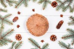 在白色假日背景的木树桩与冷杉分支,杉木锥体 圣诞节和新年快乐构成 免版税库存图片