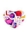 在白色充满词爱的五颜六色的心脏隔绝的 库存照片
