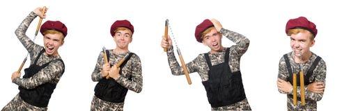 在白色军事概念的滑稽的战士隔绝的 免版税库存图片