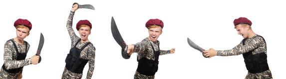 在白色军事概念的滑稽的战士隔绝的 免版税库存照片