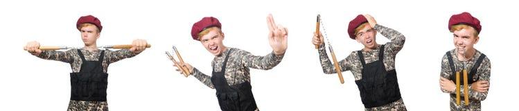 在白色军事概念的滑稽的战士隔绝的 图库摄影