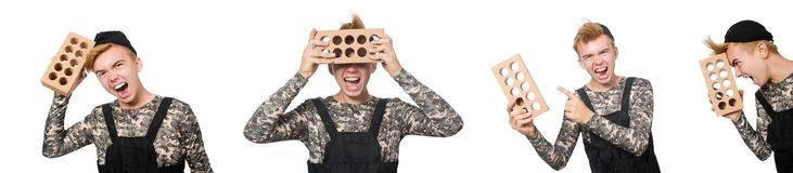 在白色军事概念的滑稽的战士隔绝的 库存图片