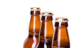 在白色冰冷的啤酒隔绝的三个瓶 免版税图库摄影