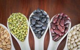 在白色匙子的不同的豆 免版税库存图片