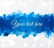 在白色发光的背景的大明亮的蓝色难看的东西飞溅与您的文本的地方 库存照片