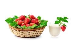 在白色后面隔绝的篮子和牛奶圆滑的人的草莓 图库摄影