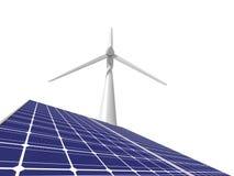 在白色和太阳电池板隔绝的风车 库存照片