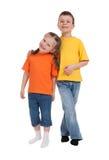 微笑的男孩和女孩 免版税库存照片