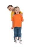 微笑的男孩和女孩 免版税图库摄影