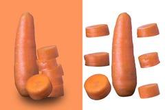 在白色和橙色背景隔绝的切好的红萝卜切片, 库存图片