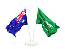 在白色和沙特阿拉伯的隔绝的两面挥动的旗子澳大利亚 向量例证