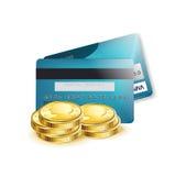 在白色和硬币隔绝的信用卡 库存照片